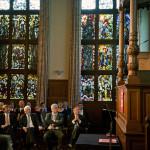 Heren op een rij. Max v.d. Berg, koning, Sibrand Poppema, Ruud Vreeman en Tjibbe Joustra. Aan het spreken: Elmer Sterken.