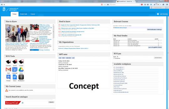 Een conceptweergave van de nieuwe Student Portal.