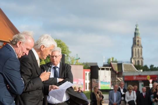 Edwin Valentijn, Commissaris van de Koning Max van den Berg en oud burgemeester Ruud Vreeman bij de opening van het Infoversum.