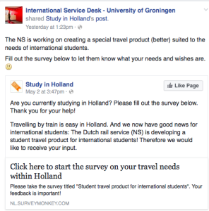 Study in Holland shared the survey via Facebook.